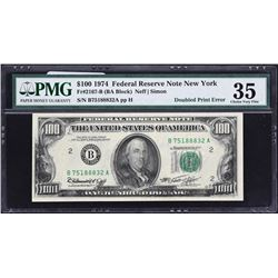 Fr. 2167-B.  1974 $100 Federal Reserve Note Error.  PMG Choice Very Fine 35.