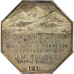 Colorado. Cripple Creek. 1901 Imprint Type. J. M. Slusher. Jos. Lesher's Referendum Silver Souvenir