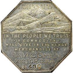 Colorado. Victor. 1901 Imprint Type. Sam Cohen. Jos. Lesher's Referendum Silver Souvenir Medal or Do