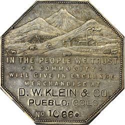 Colorado. Pueblo. 1901 Imprint Type. D.W. Klein & Co. Jos. Lesher's Referendum Silver Souvenir Medal