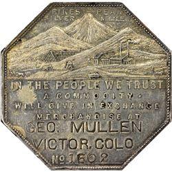 Colorado. Victor. 1901 Imprint Type. Geo. Mullen. Jos. Lesher's Referendum Silver Souvenir Medal or