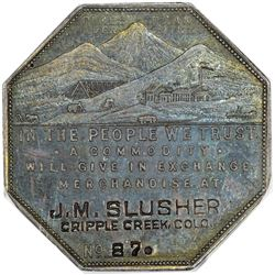 Colorado. Cripple Creek. 1901 Lesher Referendum Souvenir Medal. J.M. Slusher. No. 87. HK-792. Rarity