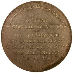 Bryan Money. 1896 Gorham Mfg. Co. Dollar. Schornstein-6, HK-780. Uncirculated Details – Cleaned – NG