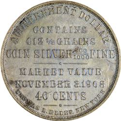 So-Called Dollar. 1908 Taft-Gold Basis Government Dollar. HK-810. Silver. Uniface. Plain Edge. MS-62