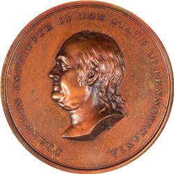 Undated Franklin Institute Medal. Julian-AM-20. Bronze. MS-64 BN NGC.