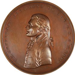 Undated – Post 1861. Thomas Jefferson Indian Peace Medal. Julian-IP-3. Bronze. MS-63 BN NGC.