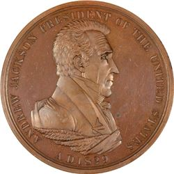 1829-dated (circa 1831) Andrew Jackson Indian Peace Medal. Julian-IP-14. Second Reverse. Bronze. Spe