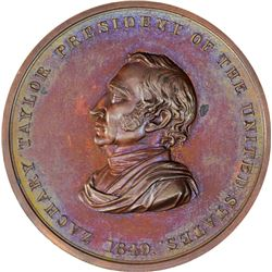 1849 Zachary Taylor Indian Peace Medal. Julian IP-29. Bronze. Third Size. Reverse of 1846. Mint Stat