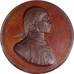 """1789"" (circa 1863 and later) Captain John Paul Jones. Bonhomme Richard v. H.M.S. Serapis Medal. Jul"