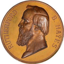 1877-Dated Rutherford B. Hayes Inaugural Medal. Julian-PR-19. Bronze. New.