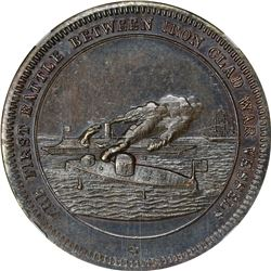 1862-Dated Ironclads First Battle. Schenkman-MM4. Copper. Plain Edge. MS-64 BN NGC.