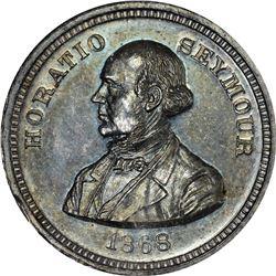 1868 Horatio Seymour. S-HS-1868-10. Silver. Plain Edge. MS-64 NGC.