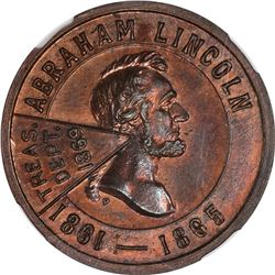 1869-Dated Abraham Lincoln Most Worthy Successor. K-276. Bronze. Plain Edge. MS-64 RB NGC.