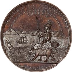 1886 Grand Army of the Republic. 20th Annual Encampment, San Francisco. Copper. MS-66 BN NGC.