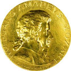 1931 Wolfgang Amadeus Mozart Medal. Gold. Reeded Edge. Choice AU.