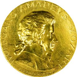 1931 Wolfgang Amadeus Mozart Medal. Gold. Reeded Edge. Choice AU.