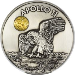 1969-2019 Apollo 11 50th Anniversary Silver Medal. Robbins Medal Restrike. 50 Ounces.  MS-70 NGC.