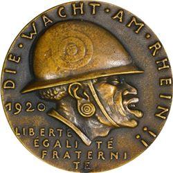 Germany. 1920 Karl Goetz Medal. Black Shame on the Rhine. Bronze. Choice Nearly New.