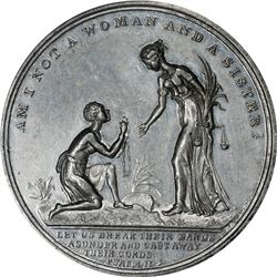 Great Britain. Undated (1834) Am I Not A Woman and A Sister. BHM-1669. White Metal. Plain Edge. MS-6