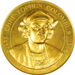1892-1893 Christopher Columbus – World's Columbian Exposition Medal. Gilt.  MS-63 PL NGC.