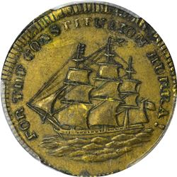 1834 Whig Victory. HT-14, Low-6. Brass. Reeded Edge. Rarity-5. AU-53 PCGS.