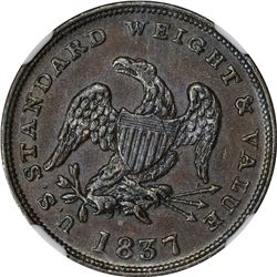 1837 Half Cent Worth of Pure Copper. HT-73, Low-49. Copper. Plain Edge. Rarity-2. MS-62 BN NGC.