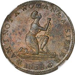 1838 Am I Not A Woman & A Sister. HT-81A, Low-54B. Copper. Plain Edge. Rarity-3. 27 mm. MS-61 BN NGC