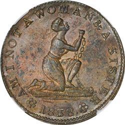 1838 Am I Not A Woman & A Sister. HT-81A, Low-54B. Copper. Plain Edge. Rarity-3. 27 mm. MS-61 BN NGC