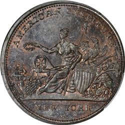 1833 American Institute, Robinson's Jones & Co. HT-153, Low-76. Copper. Plain Edge. Rarity-1. MS-64