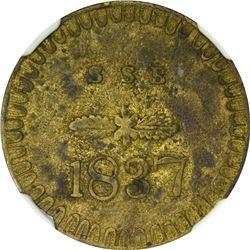 1837 S.S.B. HT-464, Low-139. Brass. Plain Edge. Rarity-6. AU-58 NGC.