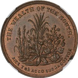 Patriotic. 1860 Wealth of the South. F-511/513a. Copper. Plain Edge. Rarity-6. MS-64 RB NGC.