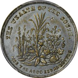 Patriotic. 1860 Wealth of the South. F-511/516i. Zinc-Plated Brass. Plain Edge. Rarity-6. AU-55 PCGS