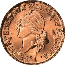 (1961) C.S.A. Bashlow Restrike Cent. Defaced Dies. Bronze. Plain Edge. MS-68 RD NGC.