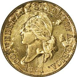 (1961) C.S.A. Bashlow Restrike Cent. Defaced Dies. Goldine. Plain Edge. MS-65 NGC.