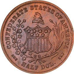 1962 C.S.A. Bashlow Restrike Half Dollar. Defaced Dies. Bronze. Reeded Edge. MS-67 RB NGC.