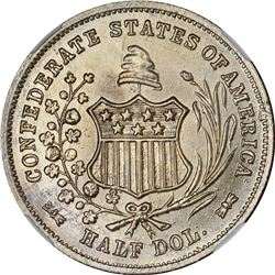 1962 C.S.A. Bashlow Restrike Half Dollar. Defaced Dies. Silver. Reeded Edge. MS-66 NGC.