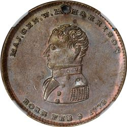 Hard Times. 1840 Campaign.HH. DeWitt-WHH-1840-25. Silvered Copper. PE. Holed. MS-61