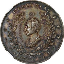 1844 Campaign. Henry Clay. DeWitt-HC-1844-10. Silver. Plain Edge. MS-65 NGC.