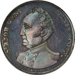 Undated (1852) Campaign. Major General Winfield Scott. DeWitt-WS-1852-1. Silver. Plain Edge. MS-66 N