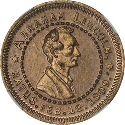 1860 Campaign. Abraham Lincoln. DeWitt-AL-1860-73. Cupro-Nickel. Plain Edge. MS-64 NGC.