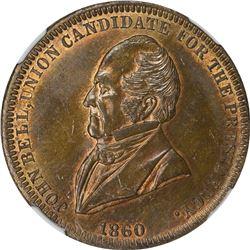 1860 Campaign. John A. Bell. DeWitt-JBell-1860-7. Copper. Plain Edge. MS-64 NGC.
