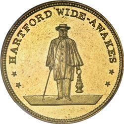 1860 Campaign. Hartford Wide-Awakes. DeWitt-AL-40. Brass. MS-66 PL NGC.