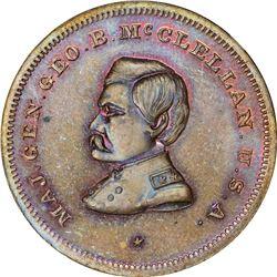 1864 Campaign. George B. McClellan. DeWitt-GMcC-1864-12. Copper. Plain Edge. MS-65 BN NGC.