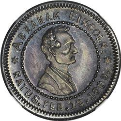 1860 Campaign. Abraham Lincoln. DeWitt-AL-1860-73. Silver. Plain Edge. MS-65 NGC.
