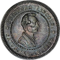 1860 Campaign. Abraham Lincoln, Wide-Awakes. DeWitt-AL-1860-74. Silver. Plain Edge. MS-65 NGC.