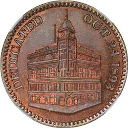 1893 J.A. Bolen Masonic Building Cornerstone. JAB-41. Copper. Plain Edge. MS-67 RB NGC.
