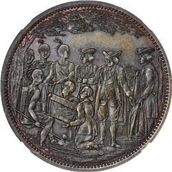 Undated (circa 1860) Robert Lovett, Jr. Penn's Treaty. No. 1 in Series. Copper. Reeded Edge. MS-65 B