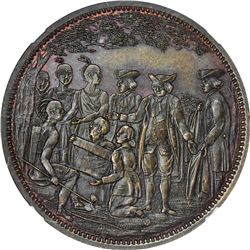Undated (circa 1860) Robert Lovett, Jr. Penn's Treaty. No. 1 in Series. Copper. Reeded Edge. MS-65 B