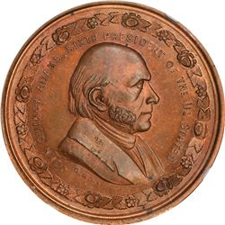 Undated George H. Lovett John Quincy Adams. Copper. Plain Edge. MS-66 RB NGC.