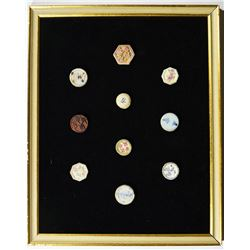 Colorful Display of Porcelain & Brass Tokens